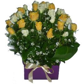 White & Yellow Roses Arrangement